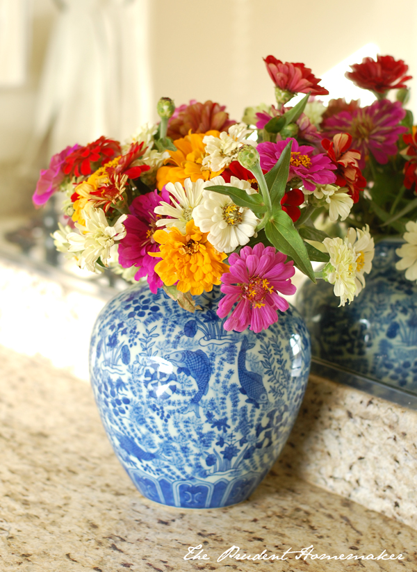 Blue and White Vase with Zinnias The Prudent Homemaker