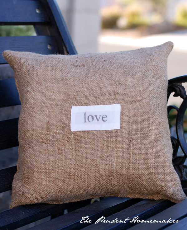Burlap pillow The Prudent Homemaker