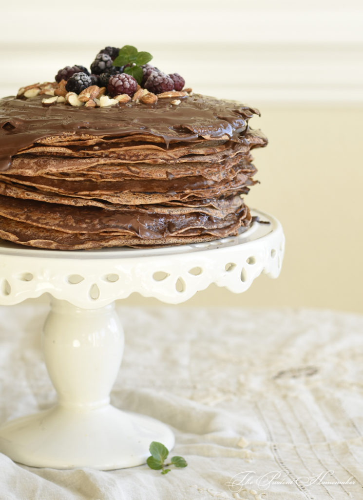 Chocolate Crepe Cake The Prudent Homemaker