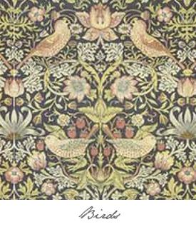 Dollhouse Wallpaper Birds Button