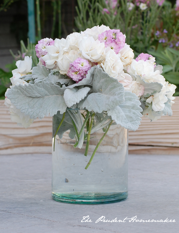 Iceberg roses dusty miller pink stock arrangement The Prudent Homemaker