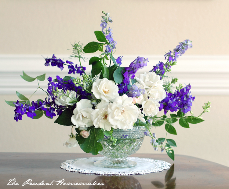 Larkspur and Rose arrangement The Prudent Homemaker