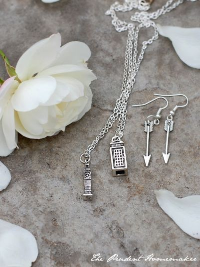 A Gift a Day: Day Seven: British Phone Booth Necklace, Big Ben Necklace, and Arrow Earrings
