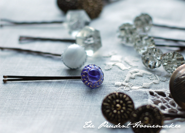 Button Jeweled Bobby Pins Detail The Prudent Homemaker