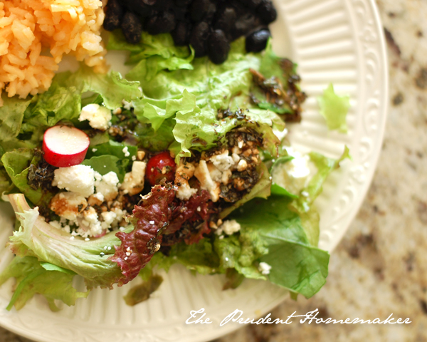 Black Beans rice and salad The Prudent Homemaker