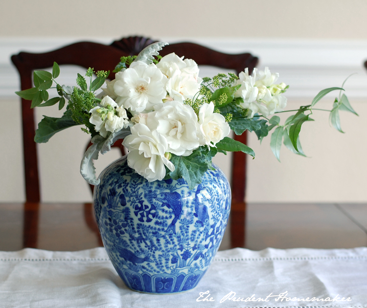 White Flowers in Blue and White Pot The Prudent Homemaker