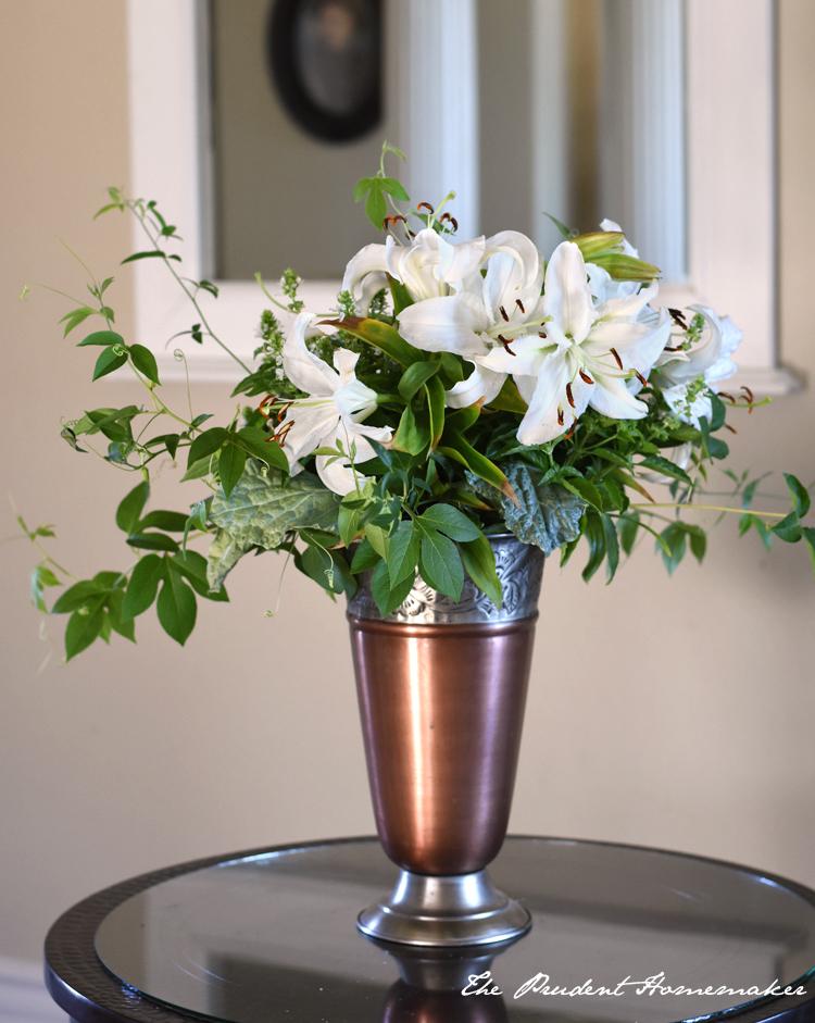 Lilies in Metal Vase The Prudent Homemaker