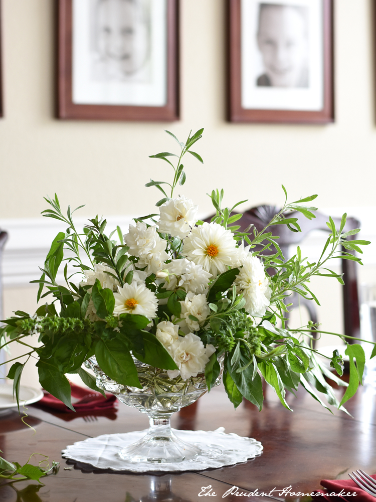 White Roses Dahlias and Zinnias The Prudent Homemaker