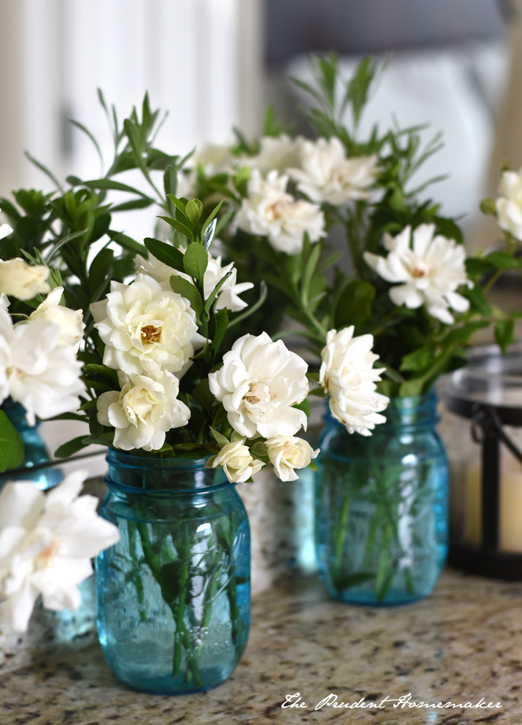 White Roses in blue jars The Prudent Homemaker