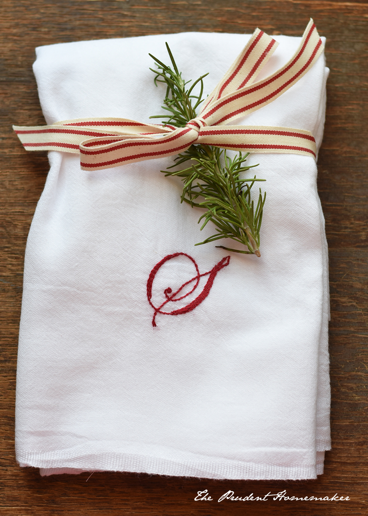 A Gift a Day: Day One: Embroidered Kitchen Towels