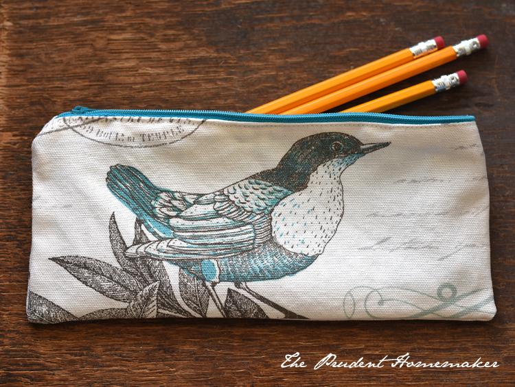 Bird and Polka Dot Pencil Bag 1 The Prudent Homemaker