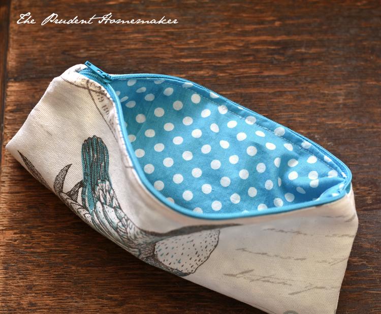 Bird and Polka Dot Pencil Bag 3 The Prudent Homemaker