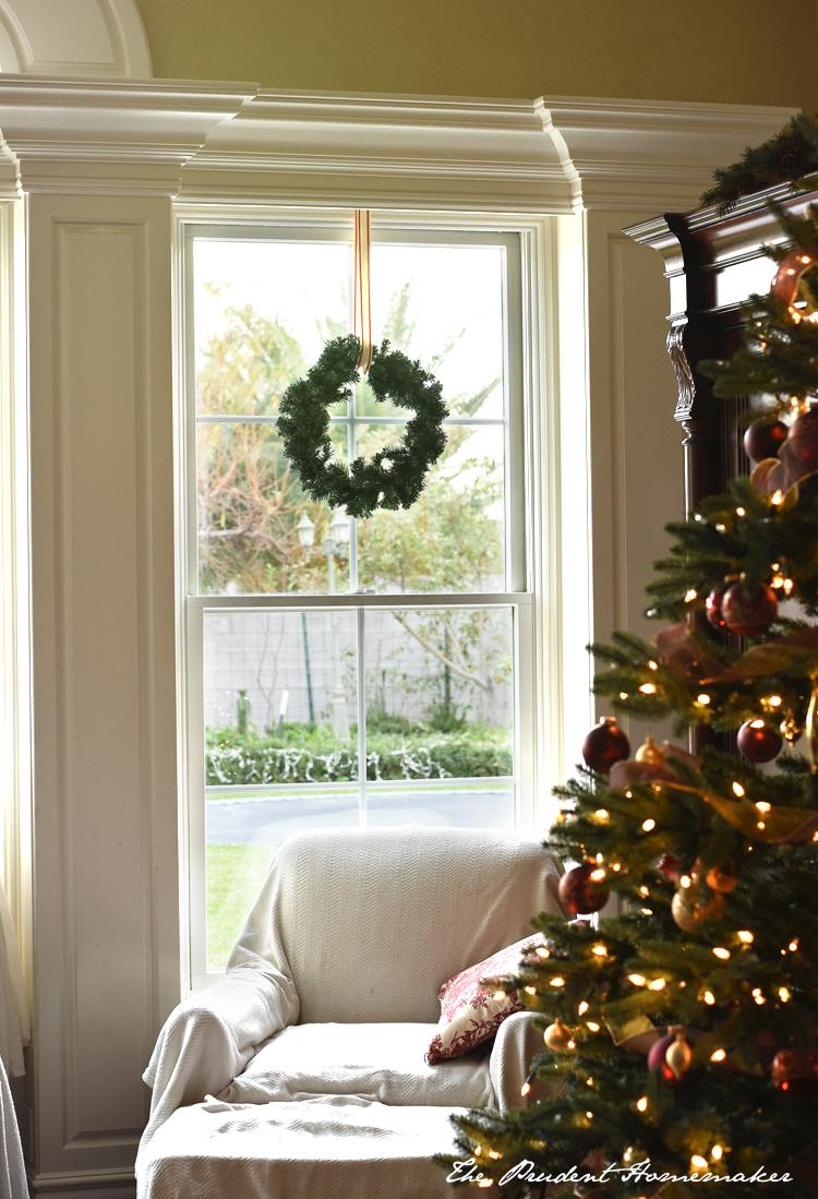 Wreath in Window The Prudent Homemaker