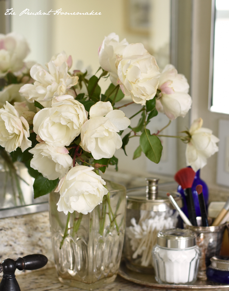 White Roses on Counter The Prudent Homemaker