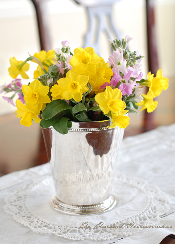 Daffodils and Pink Stock The Prudent Homemaker