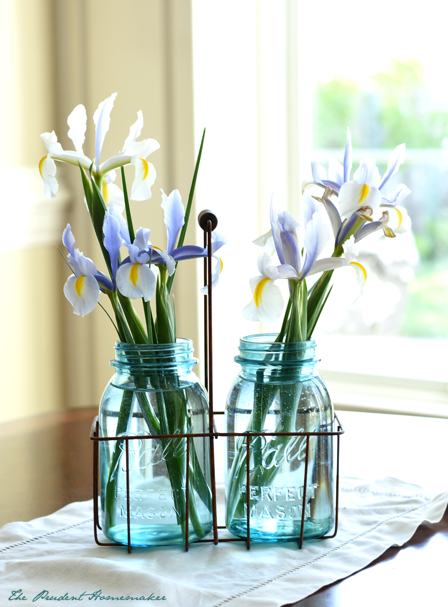 Iris in Vintage canning jas The Prudent Homemaker