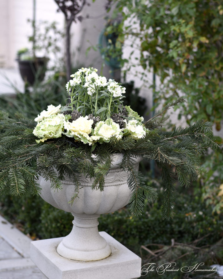 Winter White Garden Urns