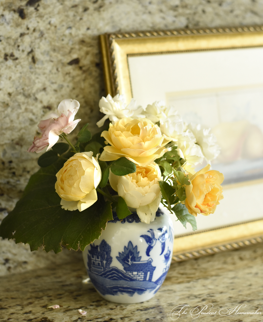 Roses in Blue Vase The Prudent Homemaker
