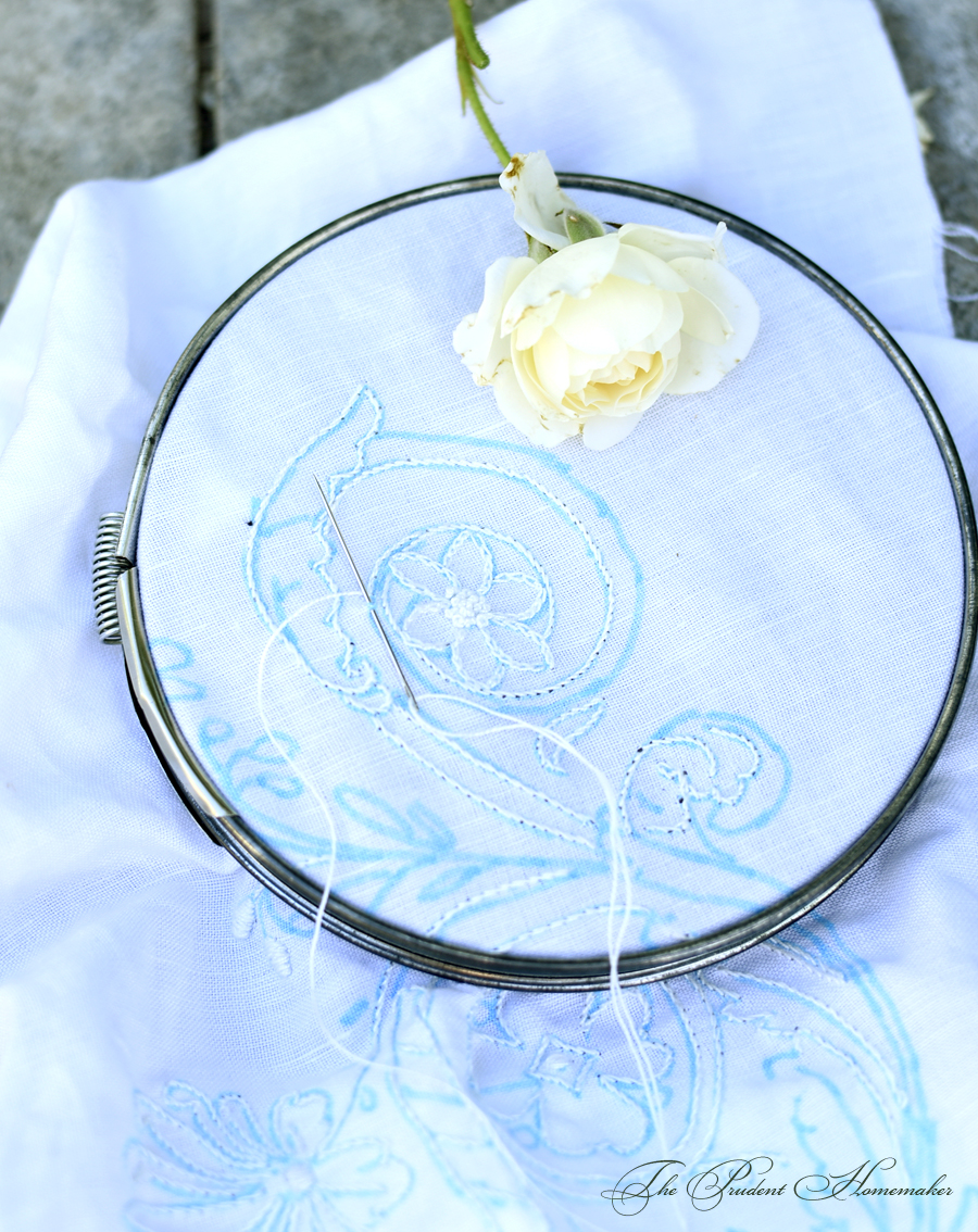 White Embroidery Detail The Prudent Homemaker