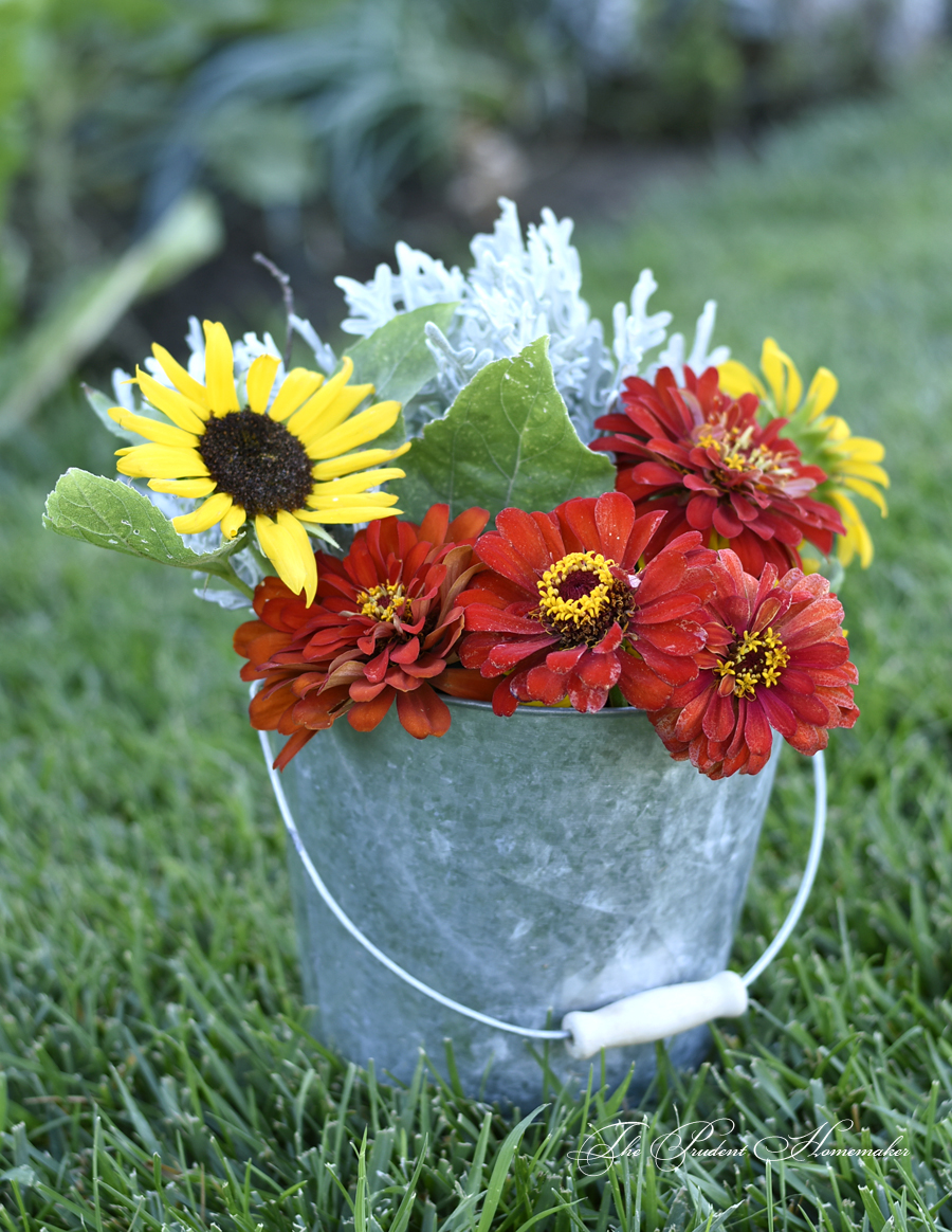 Bucket of Zinnias and Sunflowers