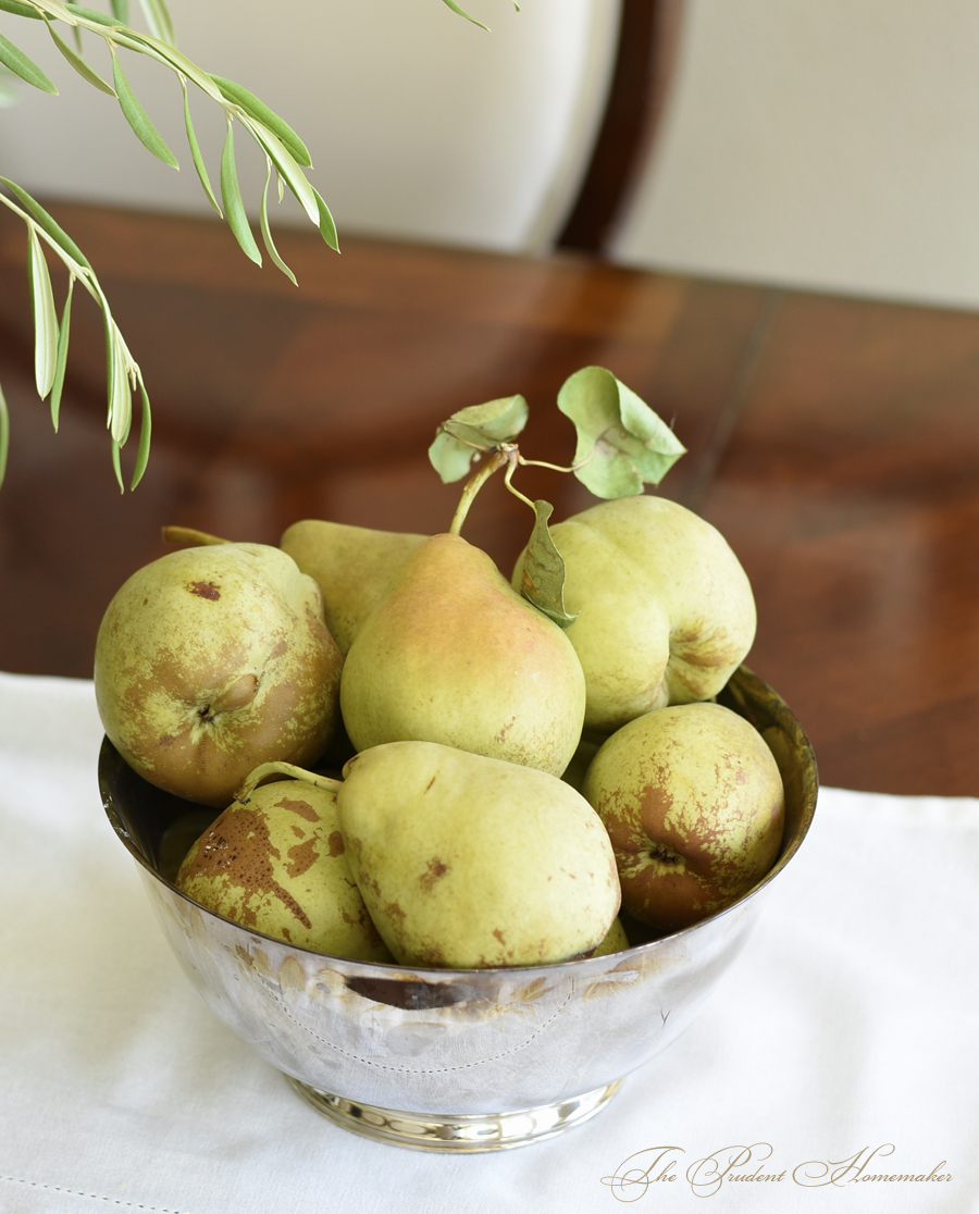 Pears in Silver Bowl The Prudent Homemaker