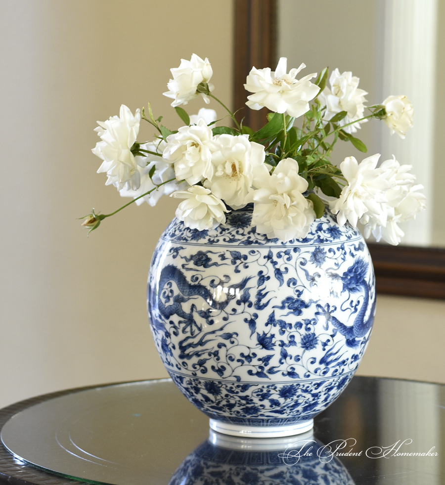 Blue and White Vase with Iceberg Roses The Prudent Homemaker
