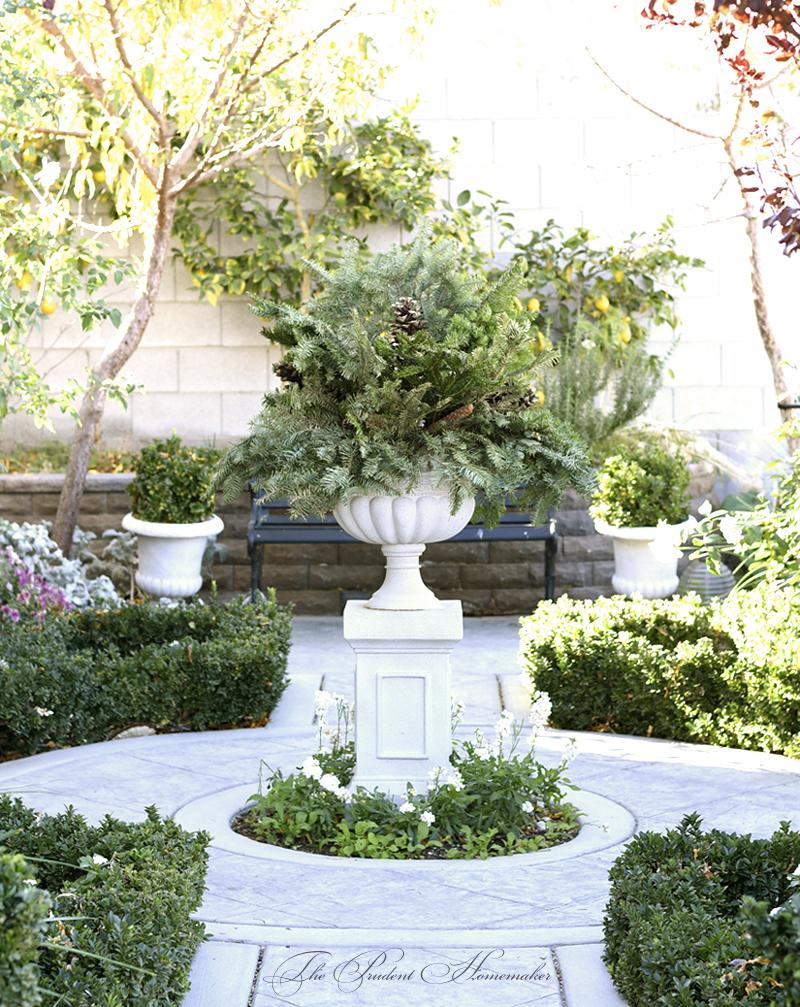Christmas Urn in the White Garden The Prudent Homemaker