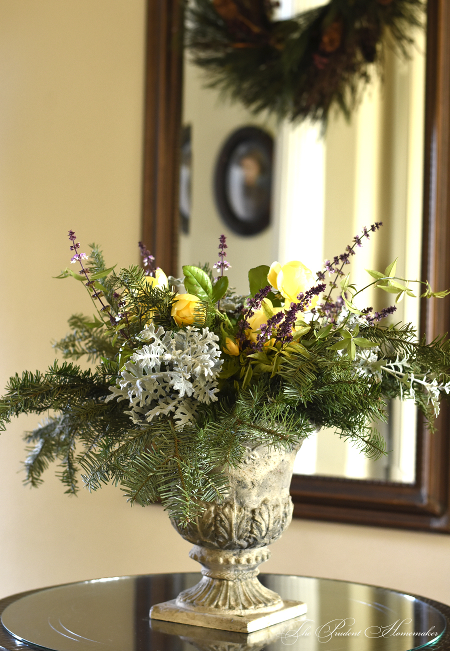 Christmas Urn on Entry Table The Prudent Homemaker