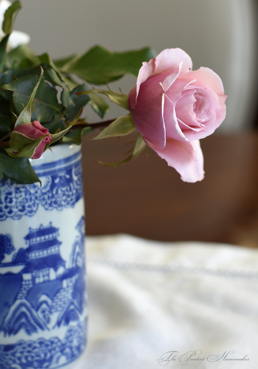 French Lace Rose in Blue and White Vase The Prudent Homemaker