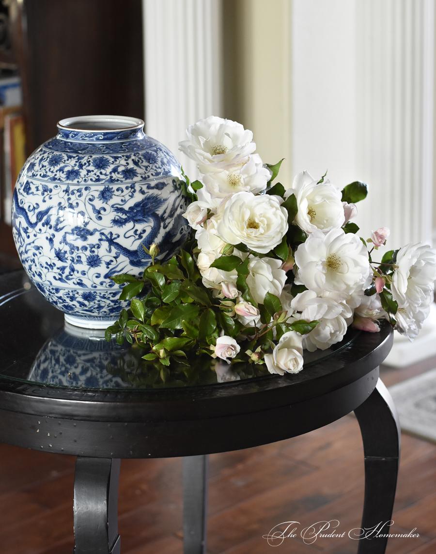 January Iceberg Roses in Entry The Prudent Homemaker