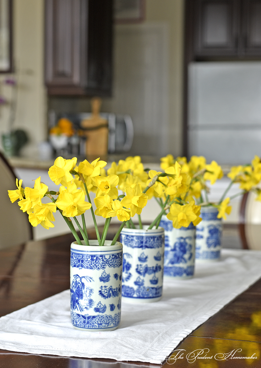 Spring Home Tour Daffodils on Table 1 The Prudent Homemaker